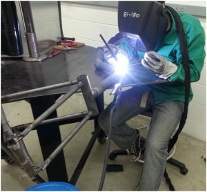 Frew welding the frame